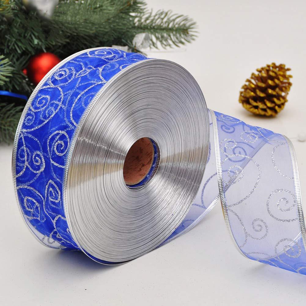NAttnJf Decoraci/ón navide/ña Ribbon Cinta de Brillo 200x5cm Envoltorio Cintur/ón de empaque Decoraci/ón de Navidad Azul Zafiro