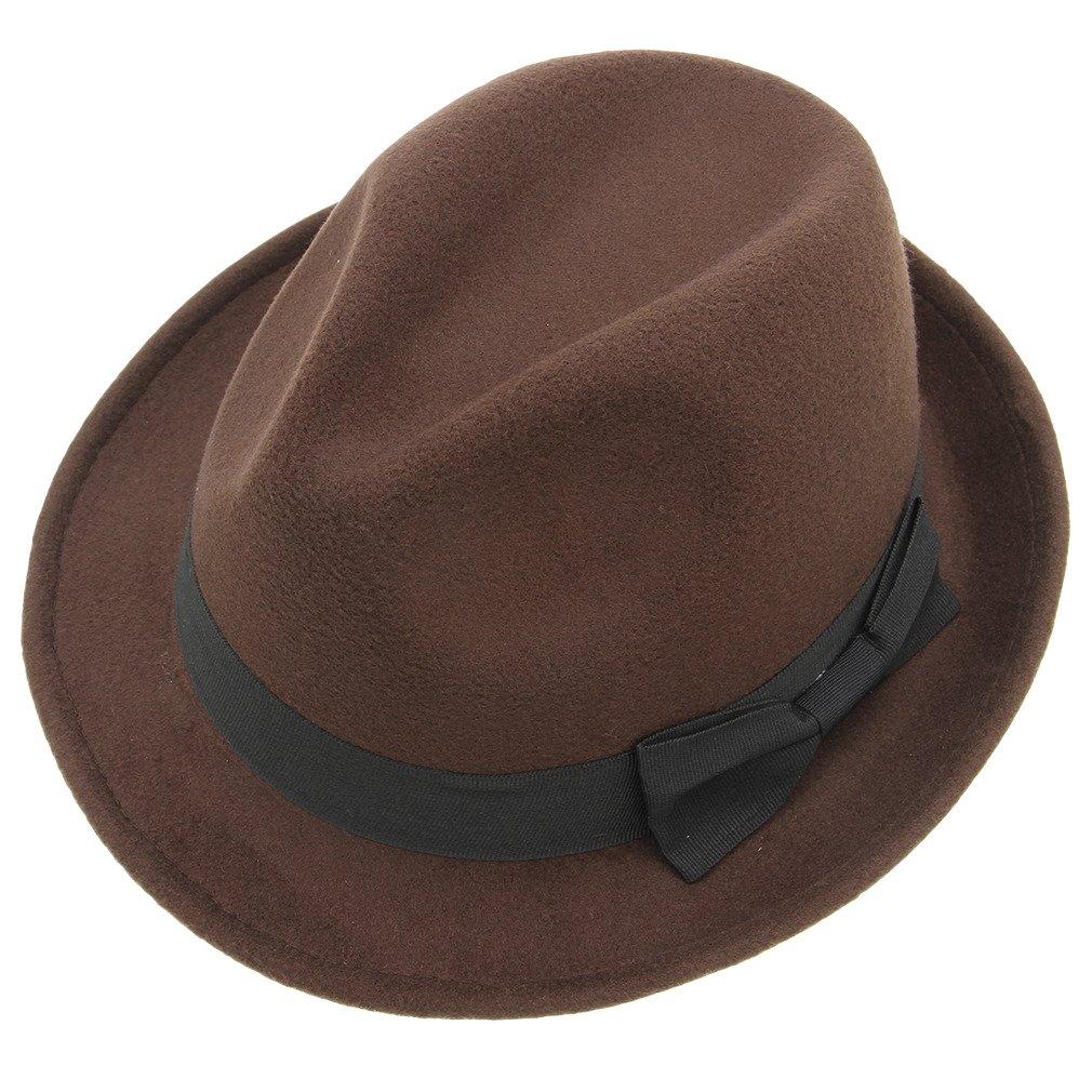 Bigood Unisex Pure color Stingy Short Brim Gangster Cuban Style Fedora Hat Cap Brown