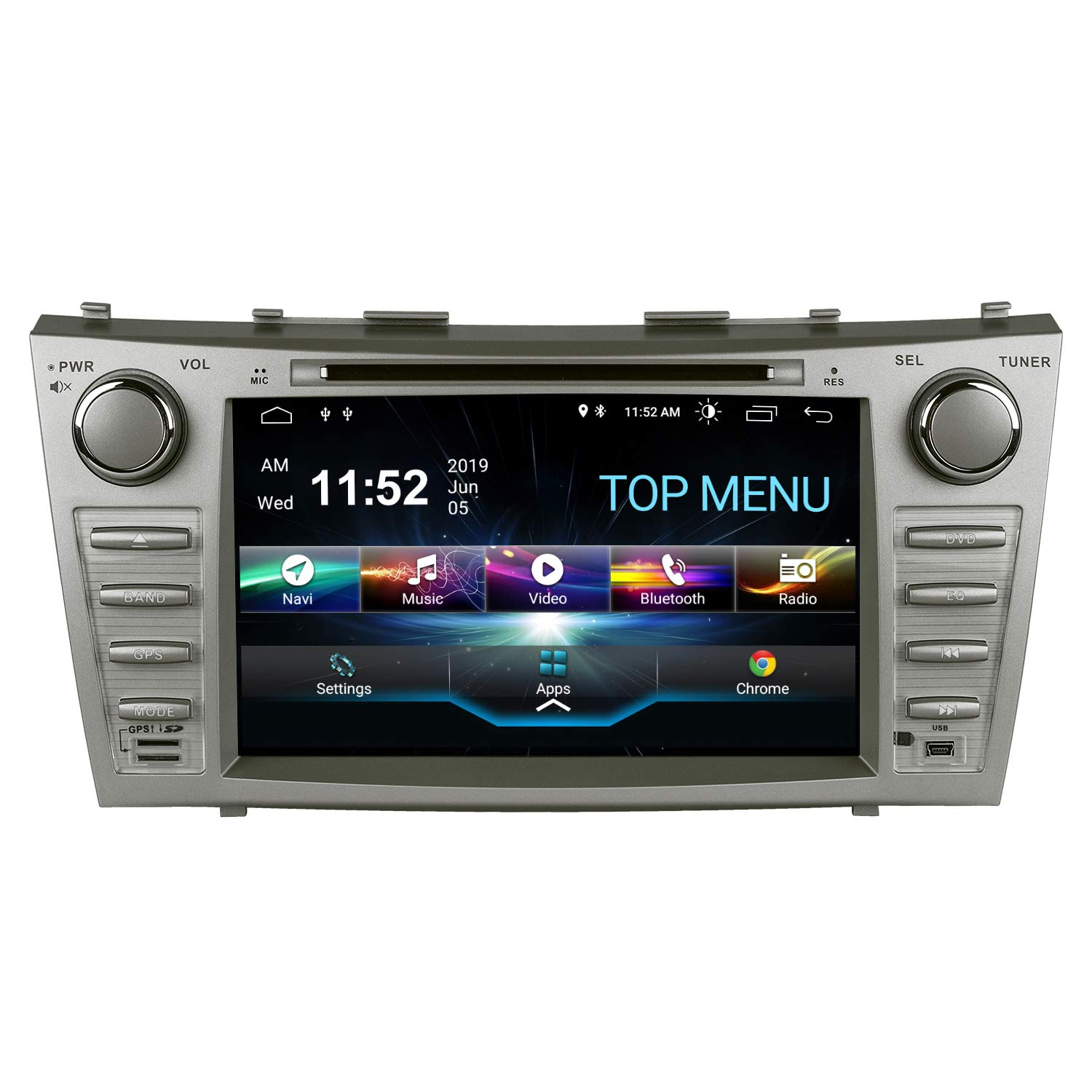 SWTNVIN Camry Car Stereo for 2007 2008 2009 2010 2011,Android 10.0 Double Din in-Dash 8 Inch Touch Screen Multimedia Receiver with Bluetooth GPS Navigation Radio Audio DVD Player TPMS SWC 2GB+16GB