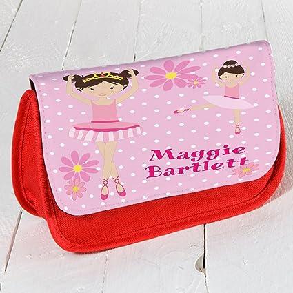 Personalizado Bailarina de Ballet EC004 Rojo Estuche Escolar/Neceser de maquillaje/Consola de juegos ds Carrier: Amazon.es: Oficina y papelería