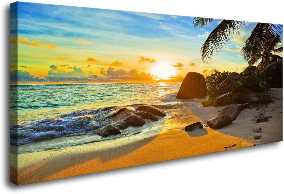 Amazon Com Fc1375 Canvas Wall Art Tropical Beach At Sunset Seascape Picture Paintings Artwork Prints Framed Ready To Hang For Home Office Bedroom Living Room Bathroom Kitchen Wall Decor Posters Prints