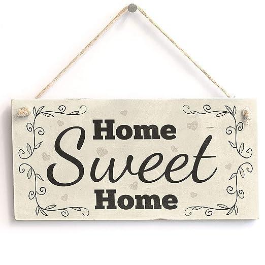 Cheyan Placa de Madera hogar con Texto en inglés Home Sweet ...