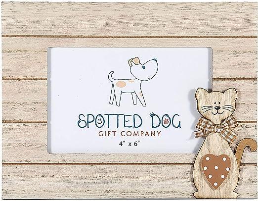 SPOTTED DOG GIFT COMPANY Marco de Fotos Horizontal 10 x 15 cm portafotos con Gato Madera Natural de pie o para Colgar en Pared, Regalo para Amante de los Gatos: Amazon.es: Hogar