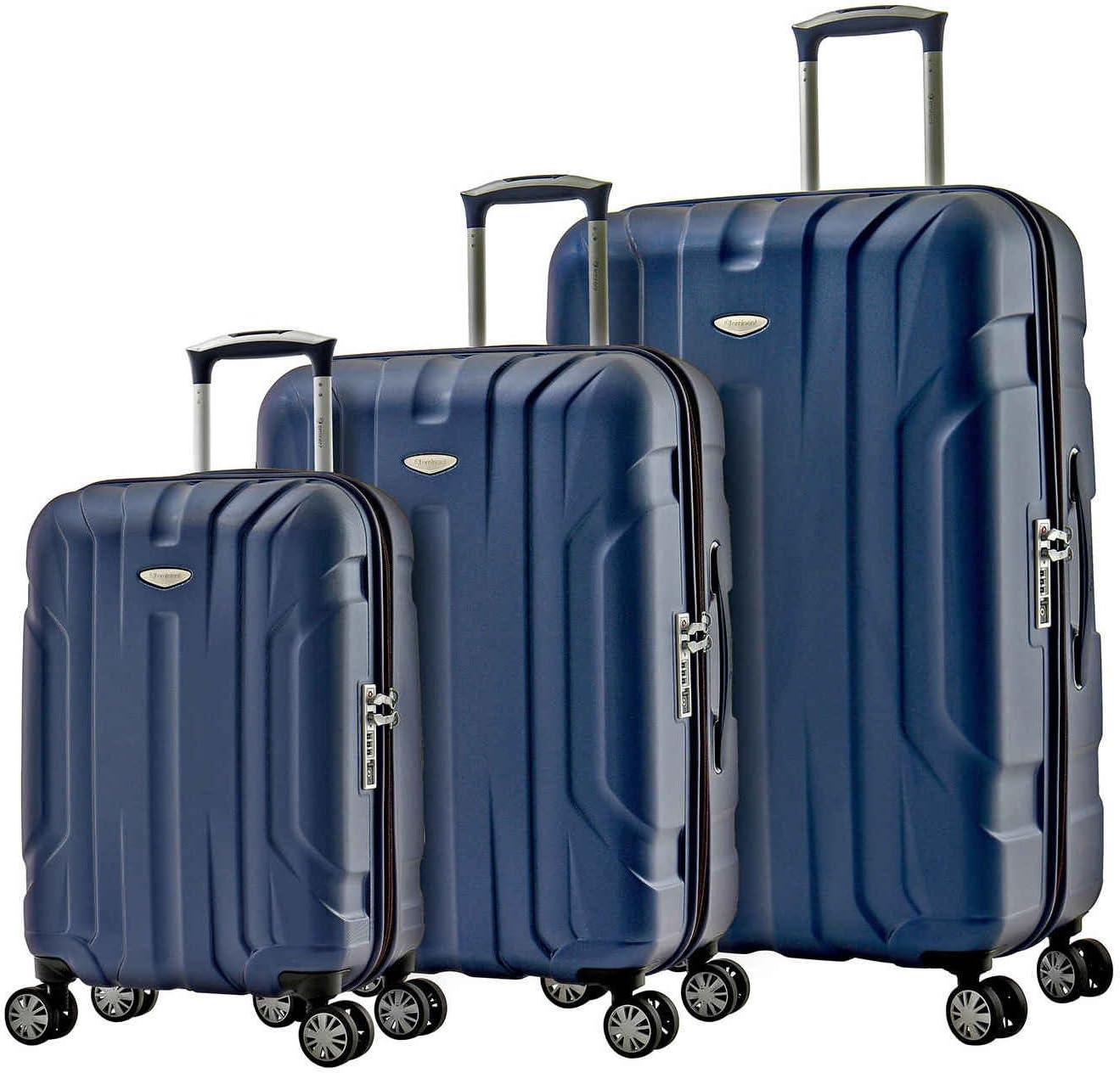 Eminent Juego de Maletas X-Tec Set 3 Piezas de Equipaje (1 de Cabina + 2 para Bodega M y L) 4 Ruedas y 360° Policarbonato Rígido, Candado TSA & Mango Telescópico Azul