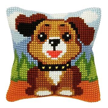 Amazon.com: Kit de punto de cruz: Cojín: Perro: Home & Kitchen