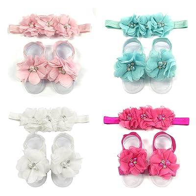 ALLYDREW Baby Girl Barefoot Flower Sandals & Headbands Set Chiffon Flower Baby Sandals (4 sets)
