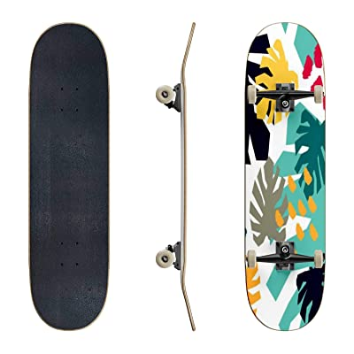 EFTOWEL Skateboards Abstract Seamless Pattern with graphyc Elements Modern Abstract Shapes Classic Concave Skateboard Cool Stuff Teen Gifts Longboard Extreme Sports for Beginners and Professionals : Sports & Outdoors