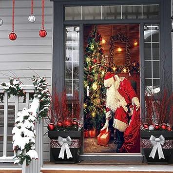 Door Wall Mural Wallpaper Santa Claus With Christmas Tree Gifts 3d Creative Waterproof