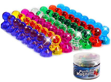 amazon com 56 colorful push pin magnets 7 assorted color strong