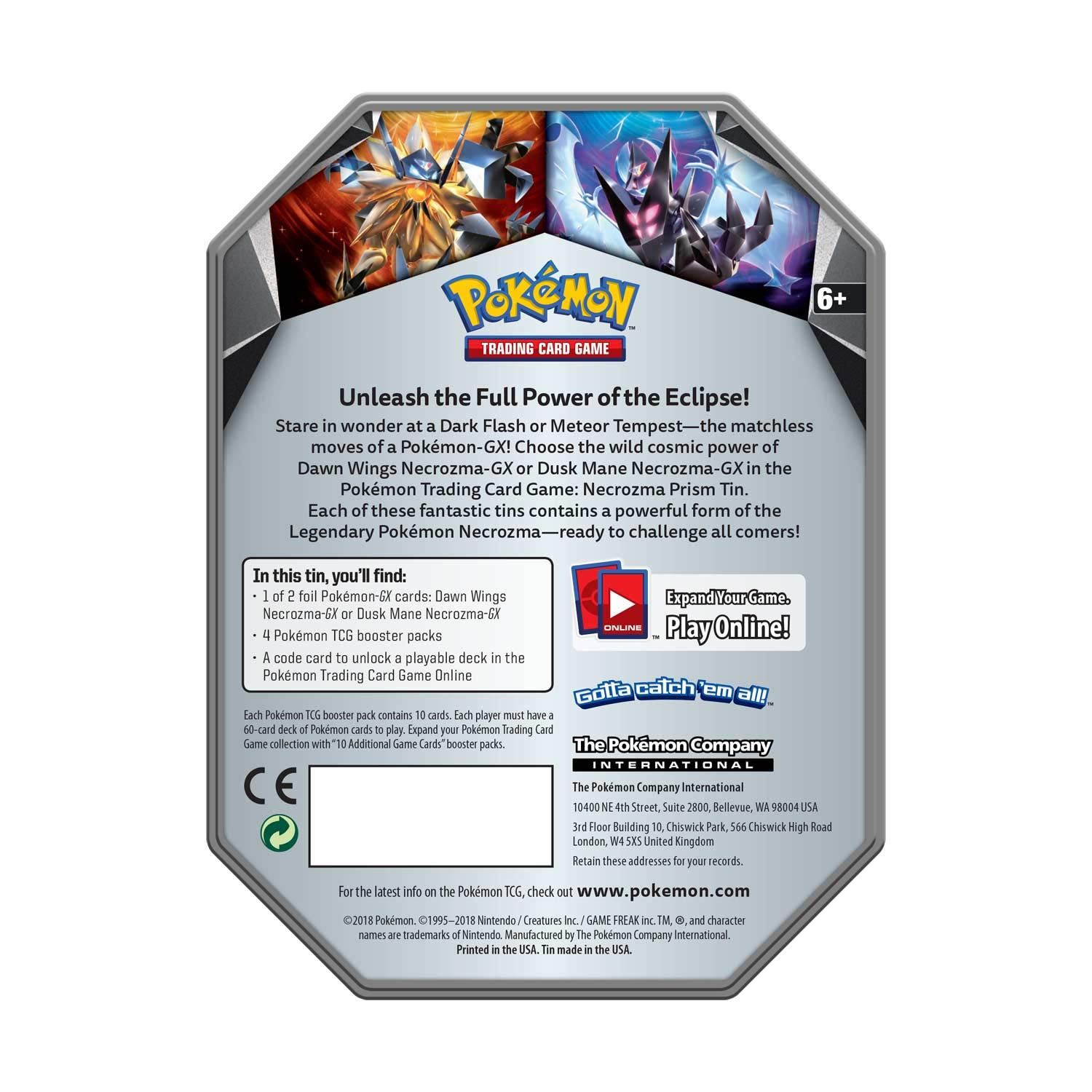 Pokemon TCG: 2018 Spring Dawn Wings NECROZMA Purple TIN- Dawn Wings - 4 Booster Packs with 1 GX Card of Dawn Wings Necrozma-GX by Pokemon (Image #3)