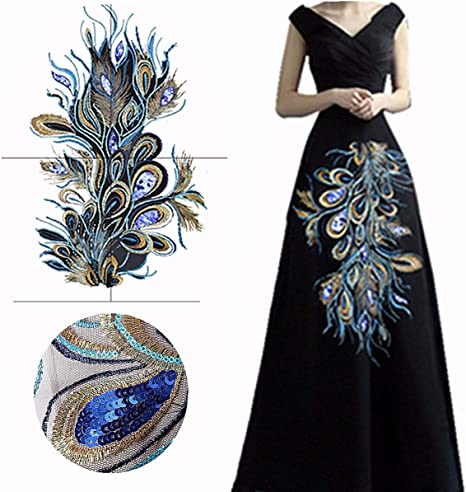 Embroidered Blue Sequins Peacock Feather Applique Clothes Decor DIY Accessories