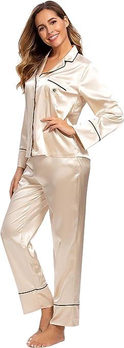 Alcea Rosea Damen Silky Satin Pyjamas Set Nachtw/äsche Loungewear Lange /Ärmel und Button Down S-XXL