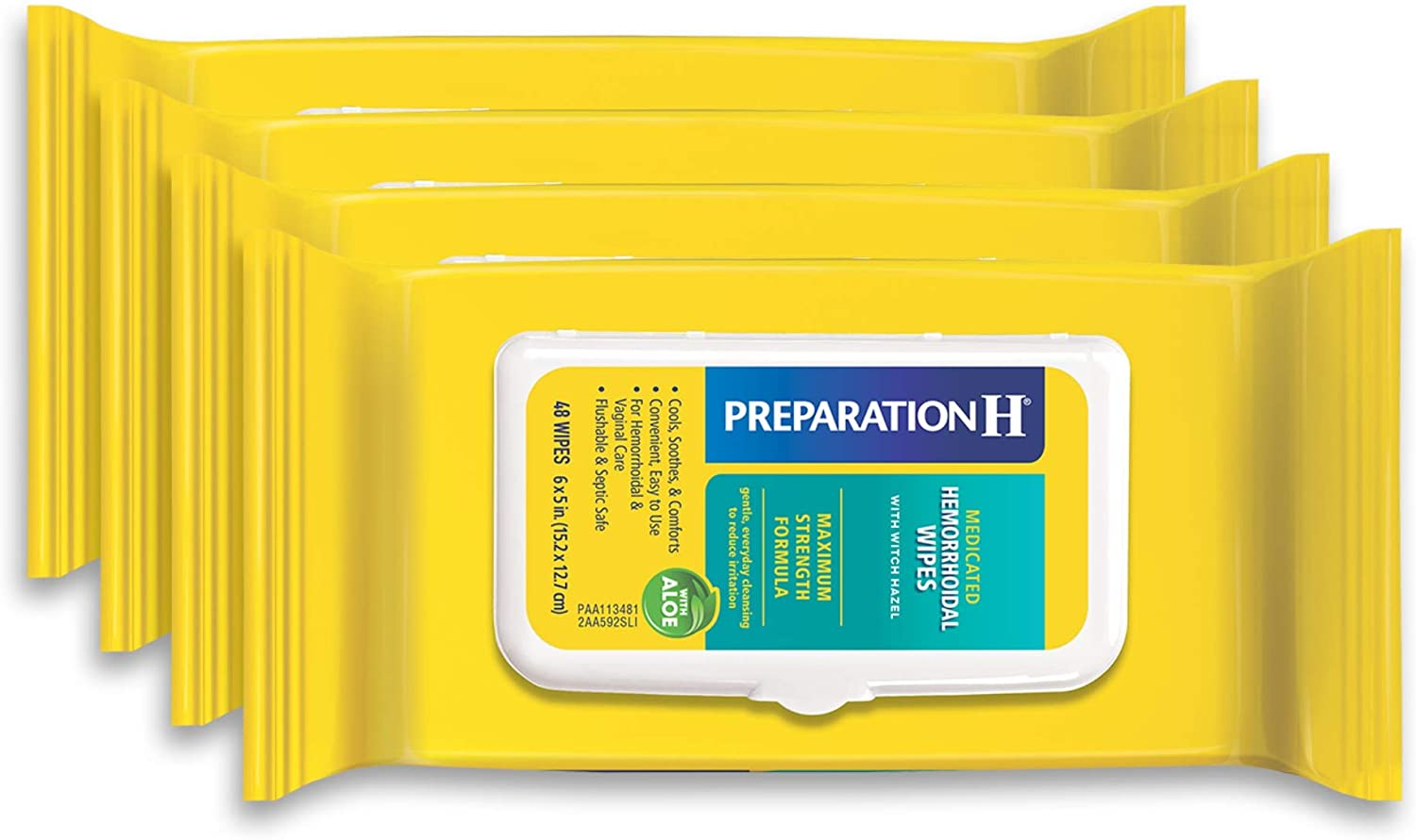 Preparation H Medicated Hemorrhoidal Wipes for Cleansing, Burning, Itch and Irritation Relief, 4 packs of 48 count, 192 count, Multi (305730556989): Health & Personal Care