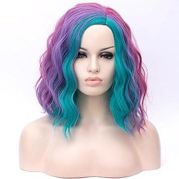 ATAYOU Corto Rizado Multi Colores Sintético Cosplay Pelucas Para Mujeres Halloween Y Fiesta De Disfraces + Gorra De Peluca Libre (Azul)