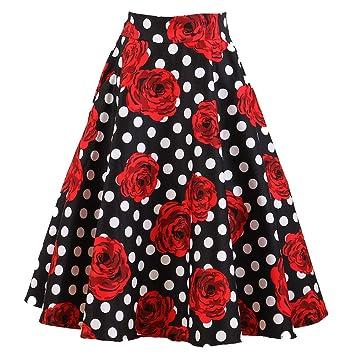 Falda Plisada Mini Falda Acampanada Mujer Retro Falda de Cintura ...