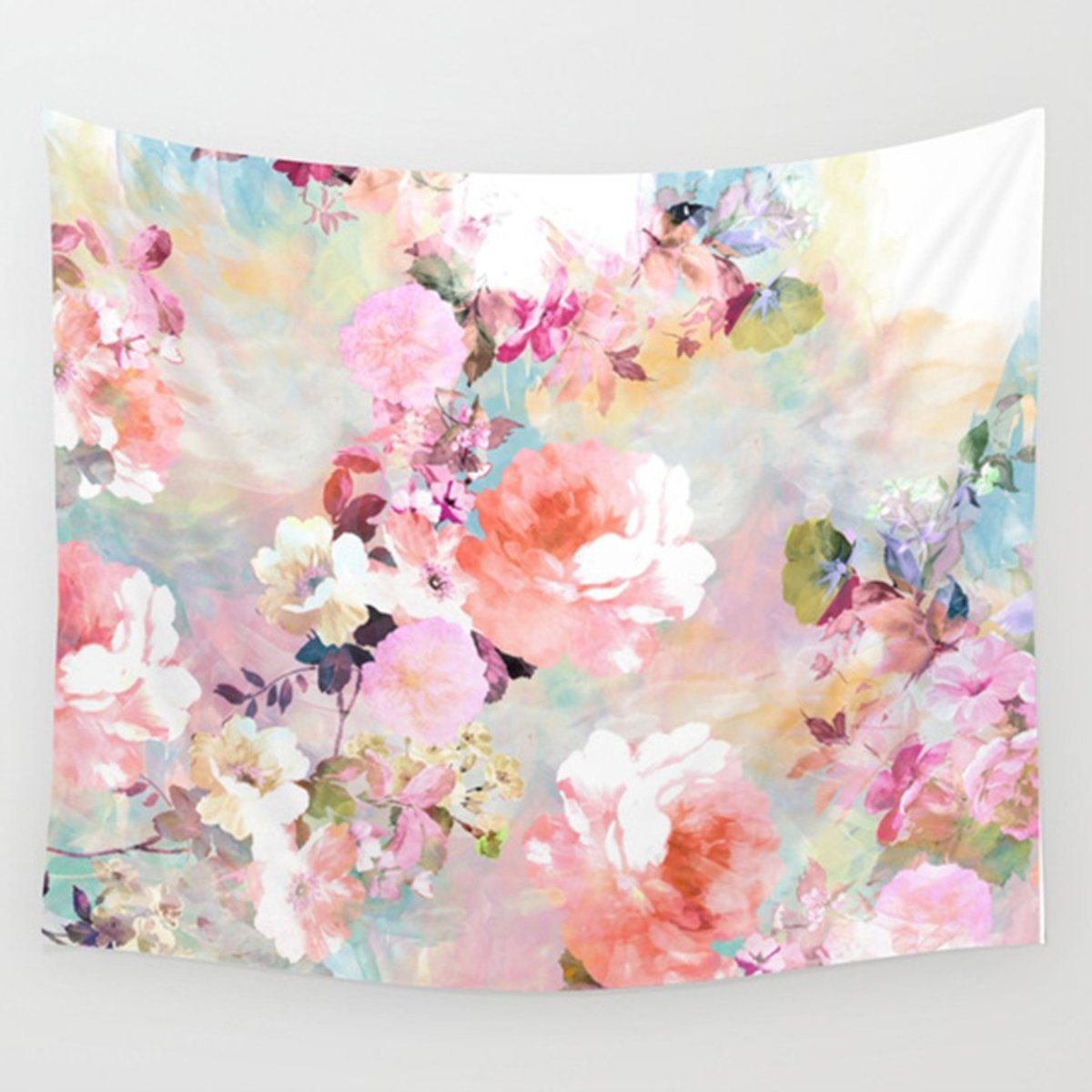 Watercolor Flower Print Wall Hanging Tapestry Dorm Decor (51H x 60W, Flower) Shukqueen