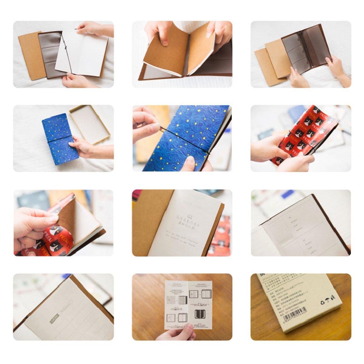 60/pagine 20,3/x 12,7/cm Cat Eye Blue Taccuino con copertina copertura Travelers notebook scrittura diario