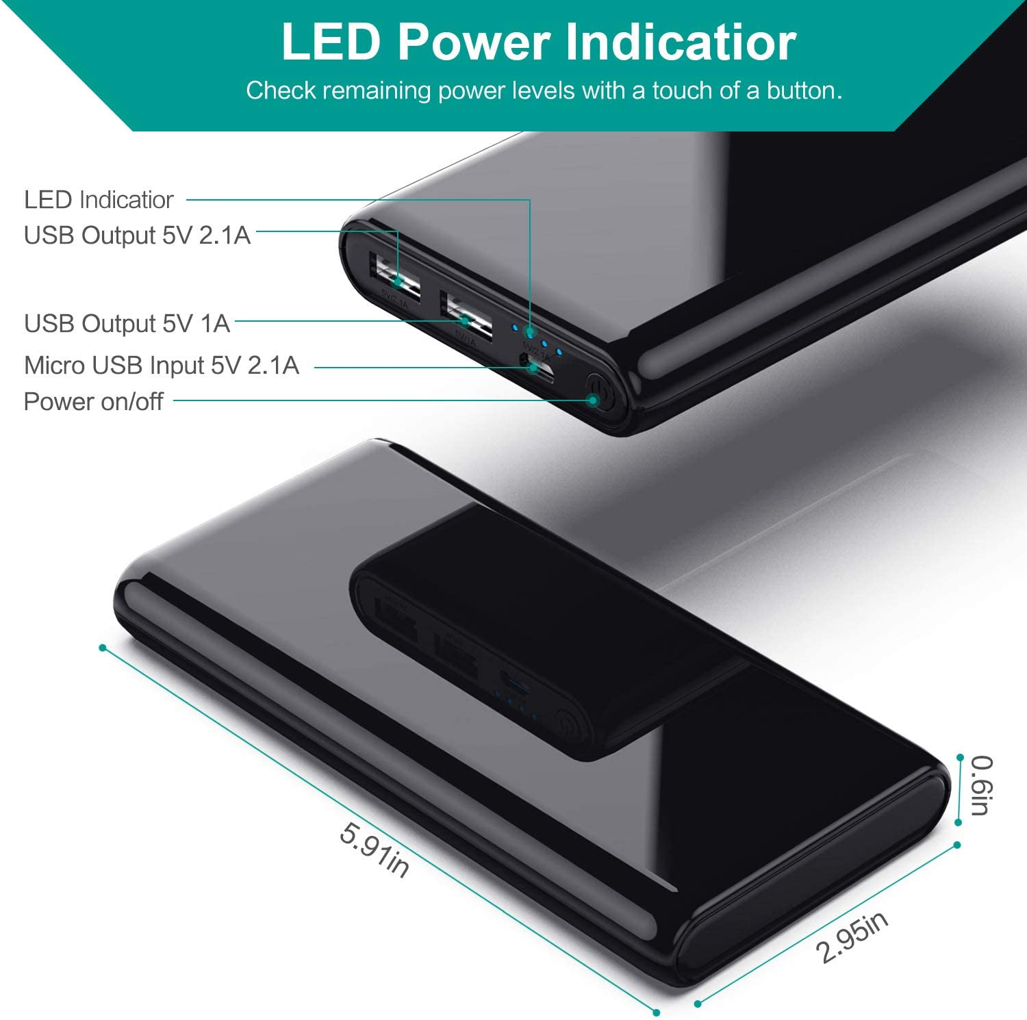 2 USB Ports External Cell Phone Battery Pack for iPhone,Samsung Android,Tablet etc Portable Charger Power Bank 25800mAh 【NEW Mirror Design】Huge Capacity Phone Charging with 4 LED Indicators