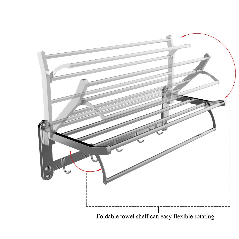 Amazon.com: Inmount Towel Shelf Bathroom Towel Bar Stainless Steel ...