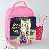 Personalised Praying Tabby Kitten Cat St823 Pink Nursery Childrens School Lunch Bag Cool Box Insulated Gift