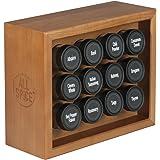 AllSpice Wooden Spice Rack, Includes 12 4oz Jars (Cherry)