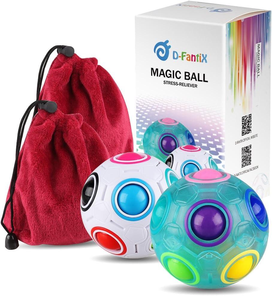 D-FantiX Rainbow Puzzle Ball Cube Magic Rainbow Ball Puzzle Bundle Stress Fidget Ball Brain Teasers Games Fidget Toys for Kids Set of 2