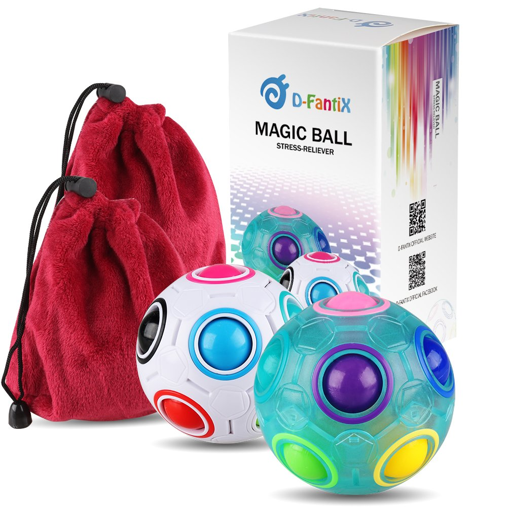 D-FantiX Rainbow Puzzle Ball Cube Magic Rainbow Ball Bundle Stress Fidget Ball Fidget Toys for Kids Set of 2 AM-TG537
