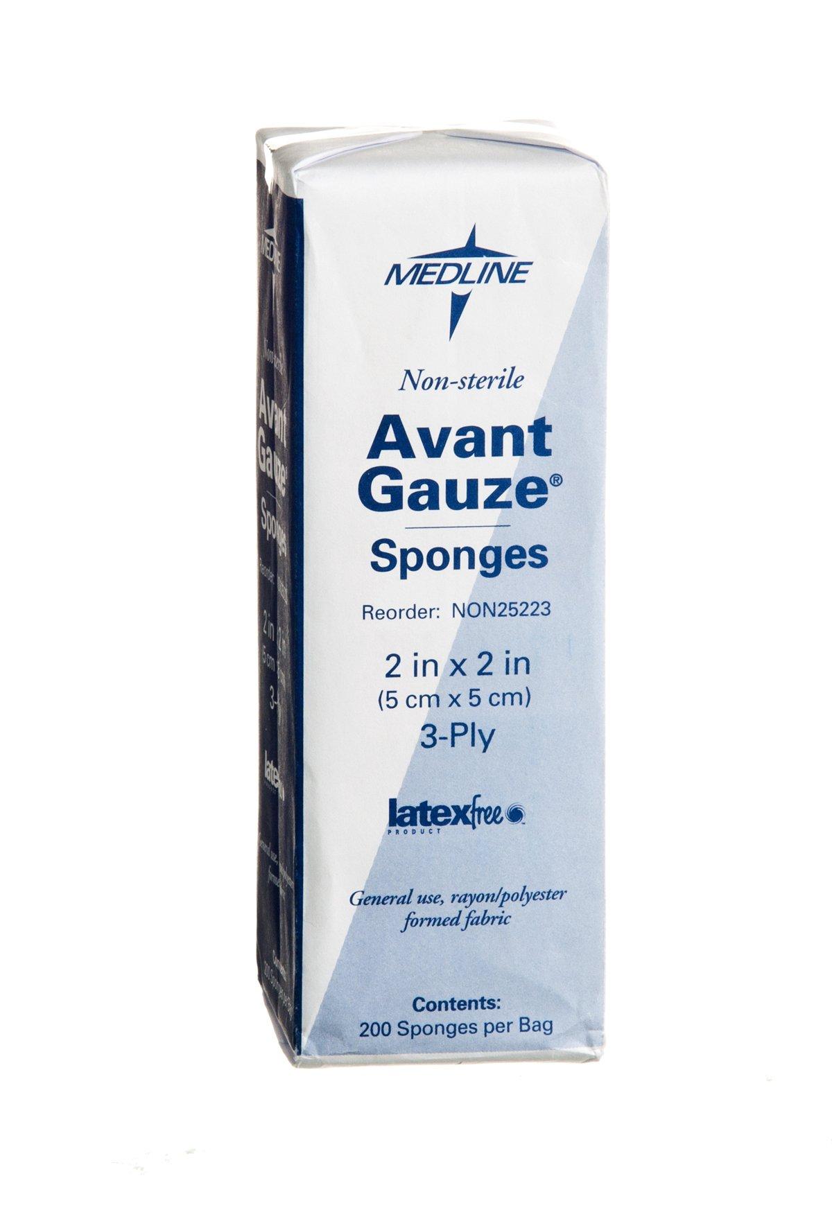 Medline NON25223 Avant Gauze Non-Woven and Sterile Sponge, 2'' x 2'', 3-Ply (Pack of 5000)