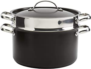 Denmark Tools for Cooks Bristol Cookware Collection- Stainless Steel Covered Dutch Oven Stock Pot Steamer Insert, 6 Quart 3 Piece Pasta Cooker in Black