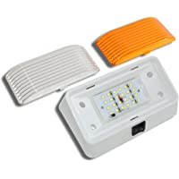 LED RV Exterior Porch Utility Light with Switch - 12v 280 Lumen Lighting Fixture. Replacement Lighting for RVs, Trailers, Campers, 5th Wheels. White Base, Clear and Amber Lenses (White, 1-Pack)