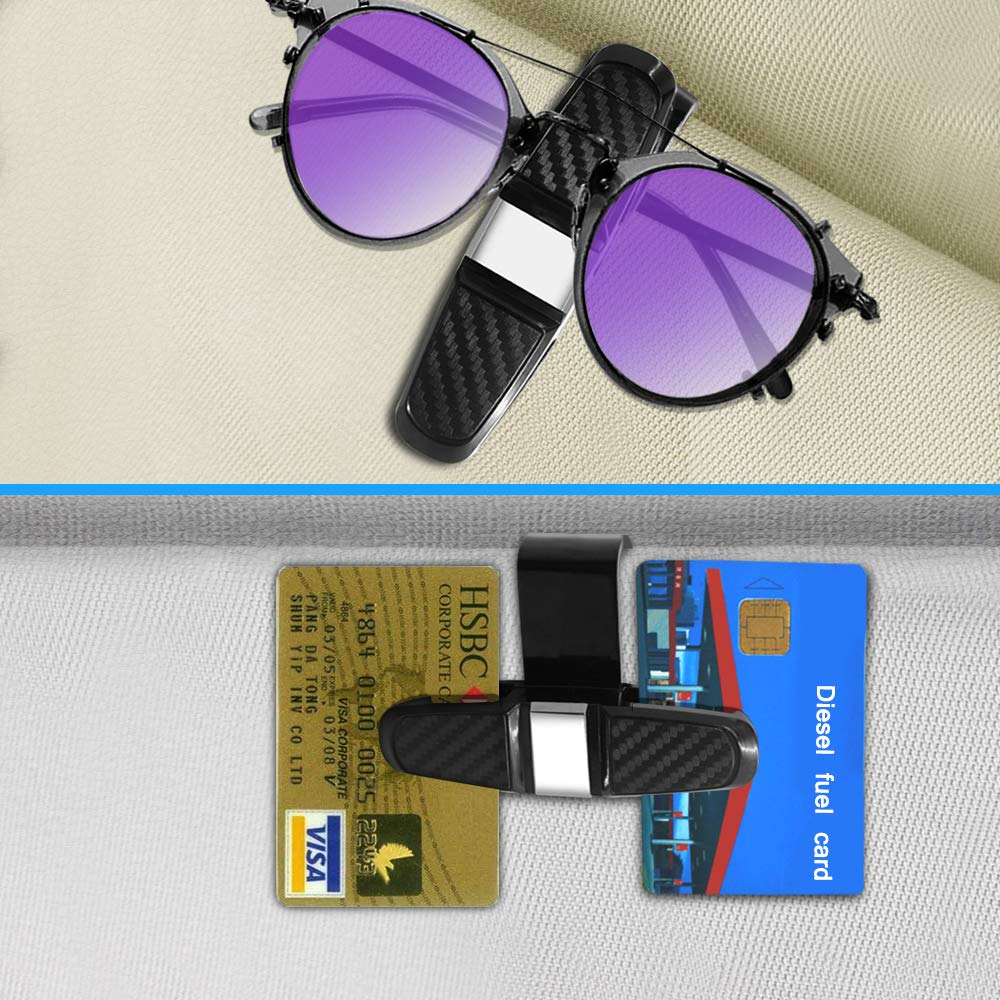 Sunglasses Case Mount with Credit Card Clip Fits All Vehicle Models SENHAI Eye Glasses Organizer Box /& Glasses Holders Clip for Car Sun Visor