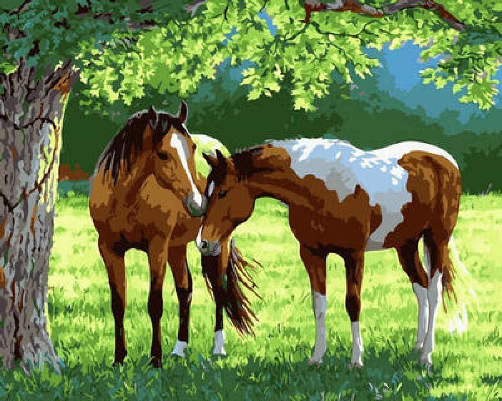 Cuadro de pintura al óleo por números, cuadro de números, lienzo regalo para mujeres, mamá, hija, Navidad, cumpleaños, hogar, decoración del hogar, WM-2445, dos caballos bajo el árbol
