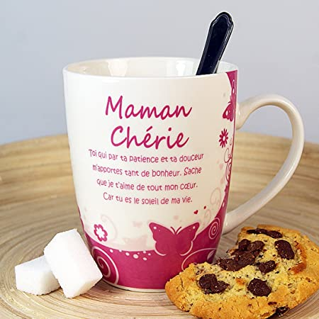 Mug Maman Chérie Avec Poème Ma4001 Emballage Cadeau Original Et Coloré Avec Une Poigné Cadeau Prêt à Offrir