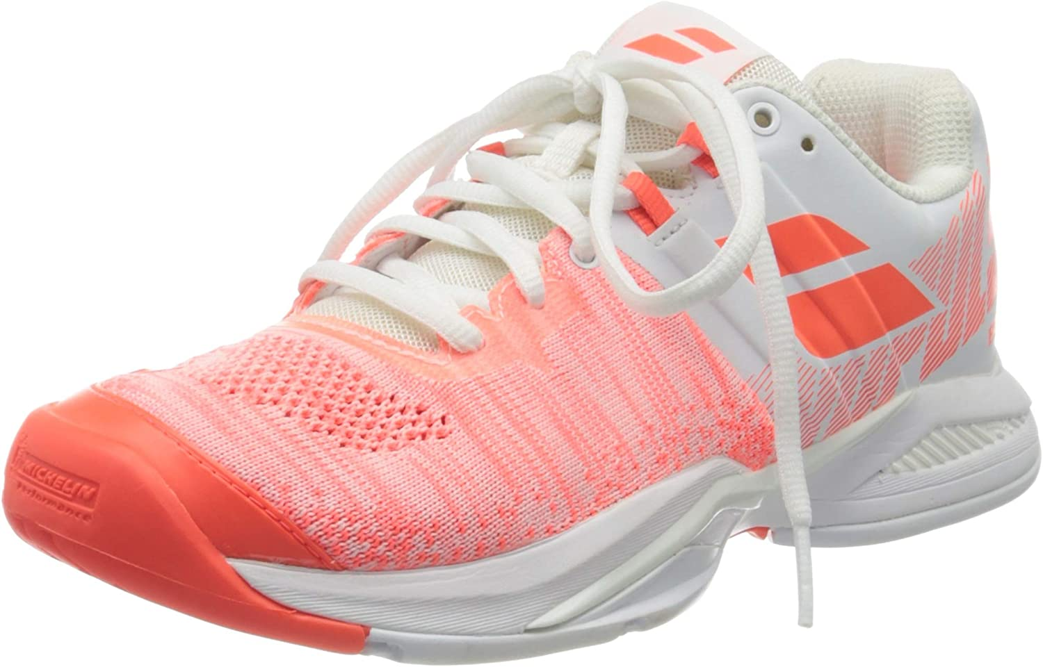 Babolat Women`s Propulse Blast All Court Tennis Shoes White and Fluo Strike ()