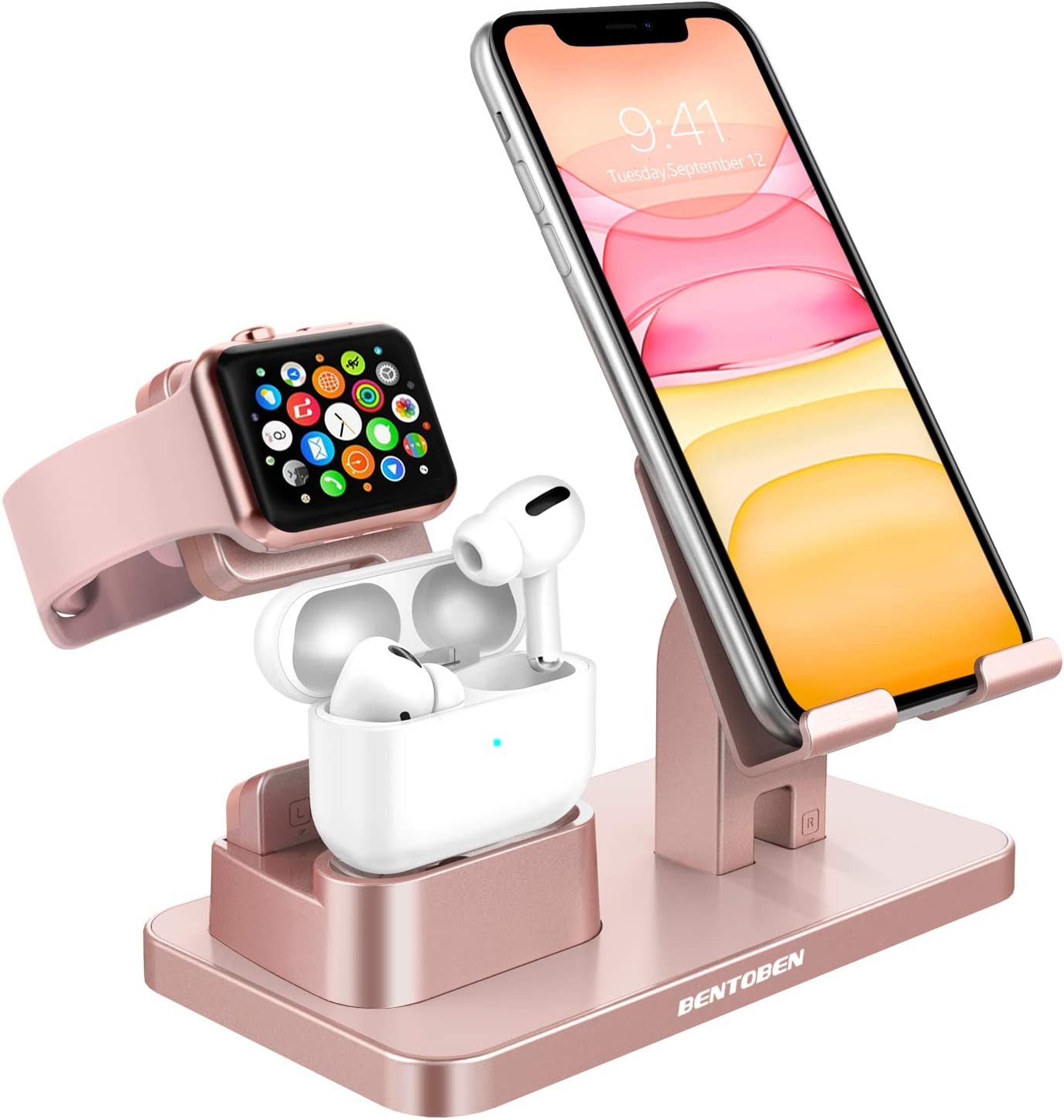 KANGYA 3 in 1 Charging Stand, Charging Dock Compatible with Airpods Pro 2/1 Apple Watch SE/6/5/4/3/2 iPhone 12 11 SE 2020 Xs Max XR X 8 7 6S 6 Plus 5S 5 Android Smartphone iPad Tablet, Rose Gold