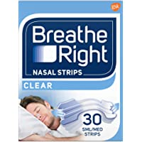 Breathe Right Nasal Congestion and Snoring Aid Strips, Clear, Small, Medium, 30s