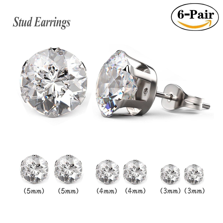 58363b7be3c47 Besjewel Stud Earrings Set 3mm-5mm Hypoallergenic Surgical Stainless Steel  Earings for Womens, 6 pairs