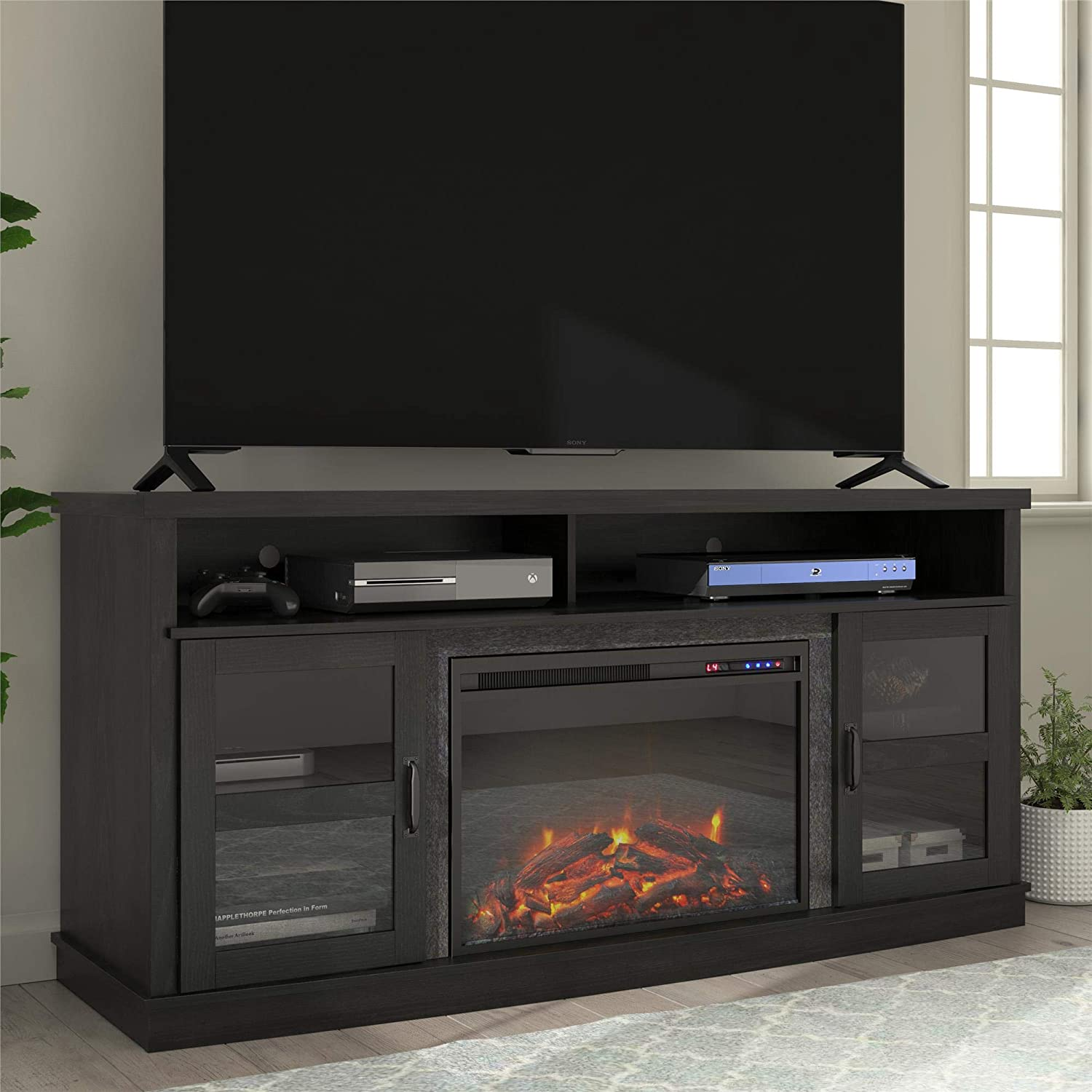 """Ameriwood Home Ayden Park Fireplace TV Stand up to 65"""" in Black Oak"""