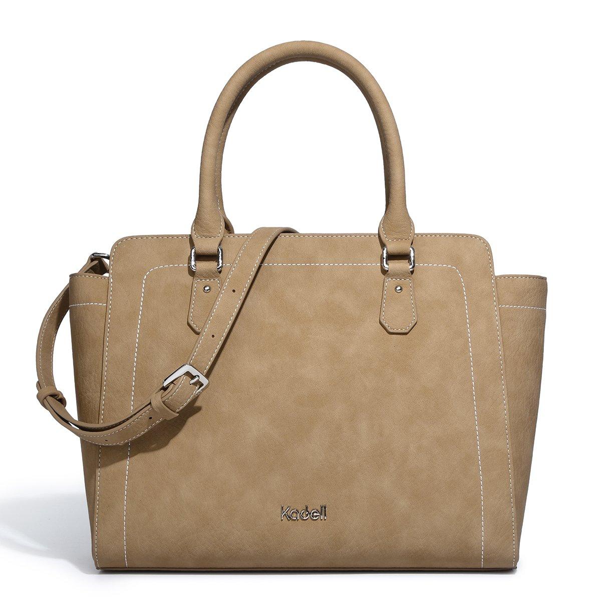 Kadell 2018 New Women Soft Top Handle Satchel Handbags Shoulder Bag Tote Purse Messenger Bags with Zipper Brown