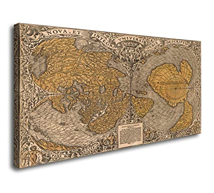 Amazon Com Vintage World Map Canvas Wall Art Decal Large Size