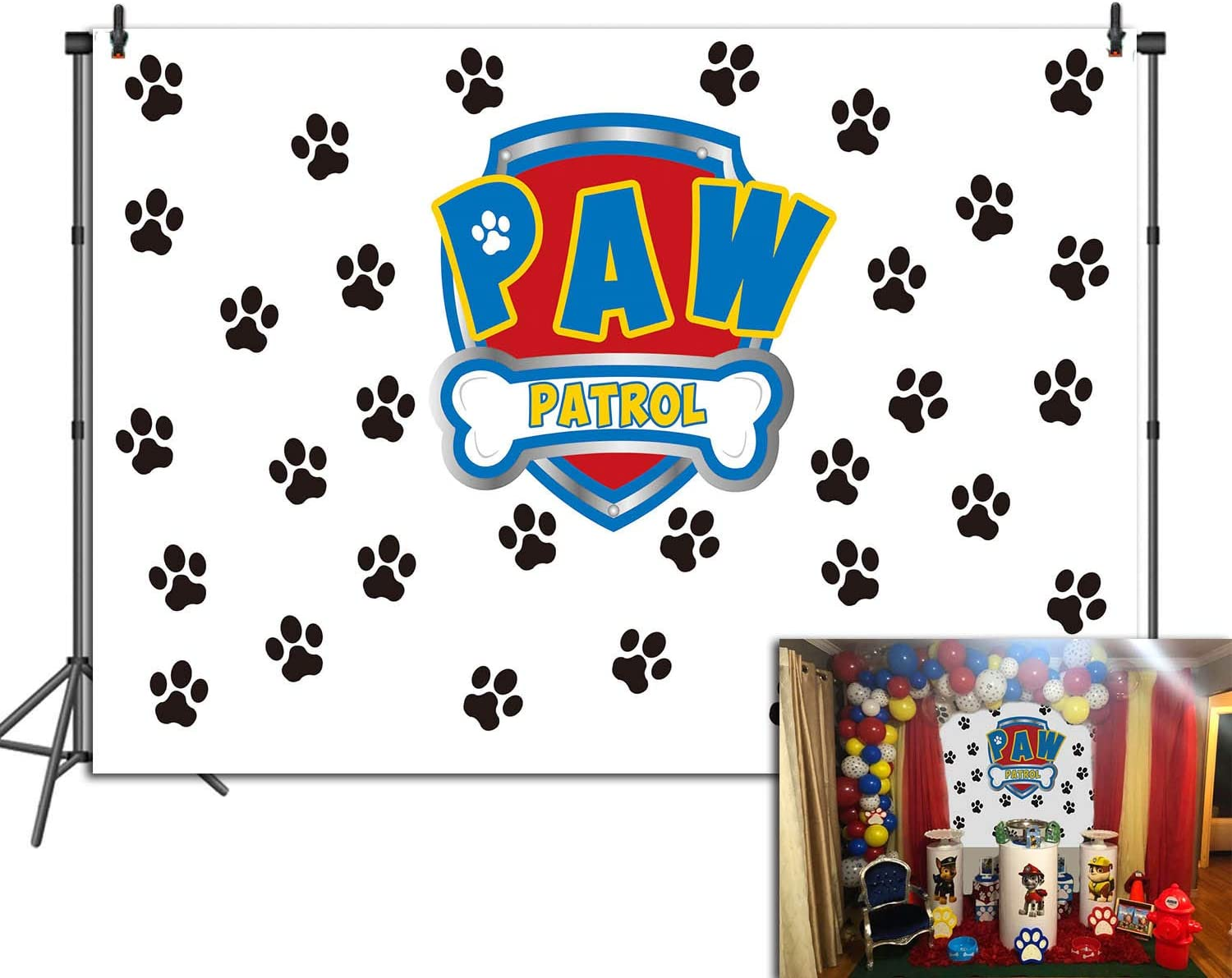 Puppy Dog Paw Backdrop for Boys Birthday Paw Patrol Pet Theme Party Photography Background Studio Props Vinyl 7x5FT