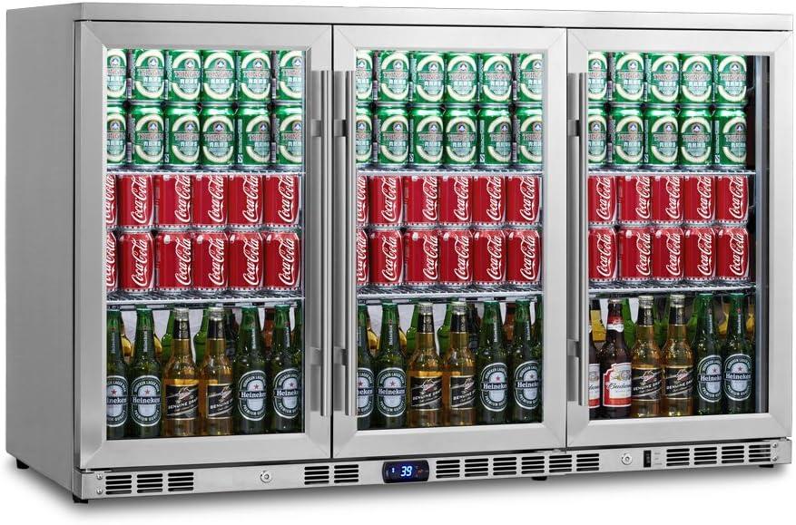 KingsBottle Under Counter Beverage Cooler - 265 Pounds, 3 Door Beer Fridge, Holds 260 Cans or Beverage Bottles - Large Capacity Drinks Cooler for Bars, Restaurants – Stainless Steel Refrigerator