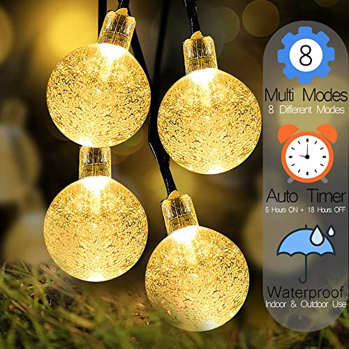 Battery Operated Globe String Lights – Outdoor String Lights 16ft Waterproof 30 LED 8 Modes LED String Lights Patio Light with Timer for Backyard Garden Balcony Pergola Wedding Party Decor, Warm White