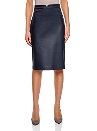 60960825a oodji Collection Women's Straight Faux Leather Skirt, Blue, UK 6 / EU 36 /