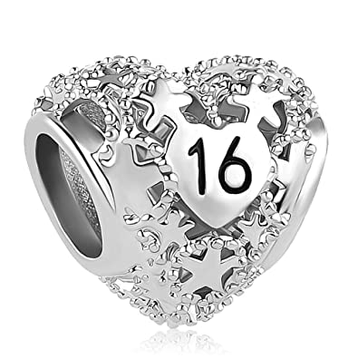 92103b614 Sug Jasmin Sweet 16 Charm 16th Birthday Beads For Bracelets: Amazon.co.uk:  Jewellery