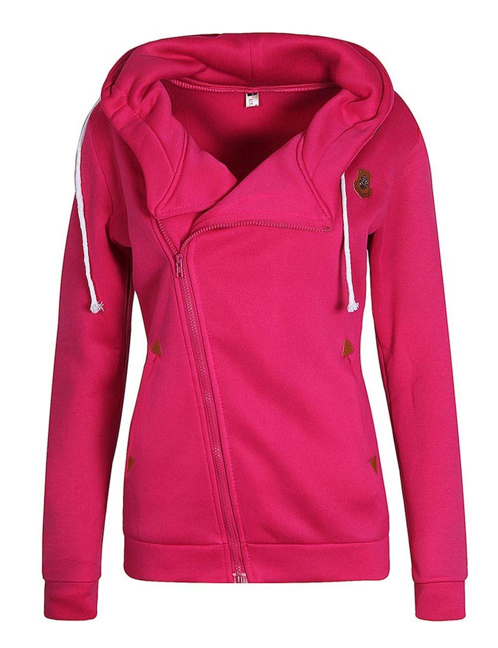 ELFIN Women's Long Sleeve Hoodies Sweatshirt Outwear Thick Hooded Pullover Jacket Top LN835
