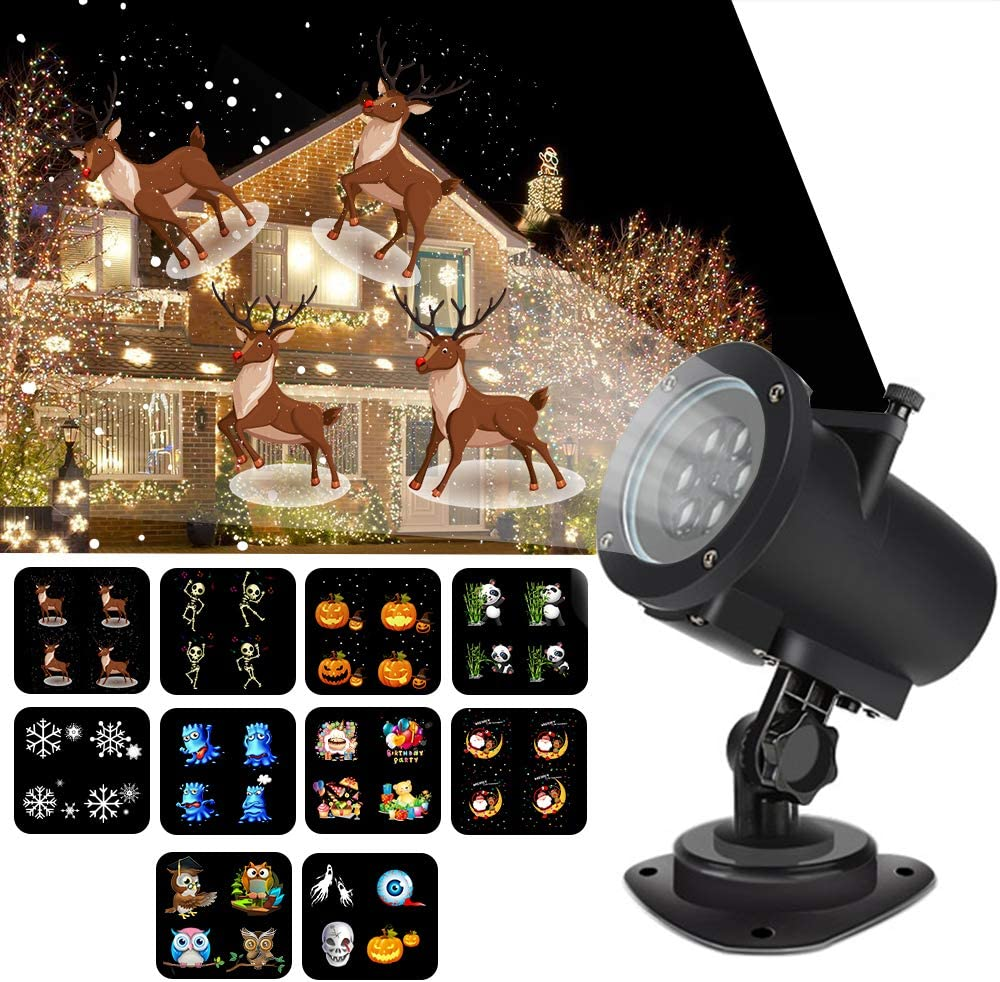 Syslux Christmas Projector Lights, 14 Slides Indoor Outdoor Holiday Lights Halloween Xmas Home Wedding Birthday Party Garden Decorations (Animated Projector)
