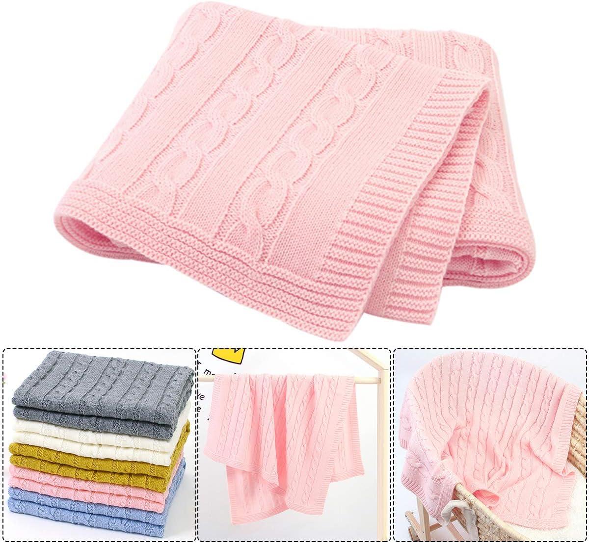 Yolispa Manta de bebé Mantas de Punto Unisex para recién Nacidos de niño para niñas, Manta de recepción Infantil para Cuna, Cochecito (100 * 80 cm)