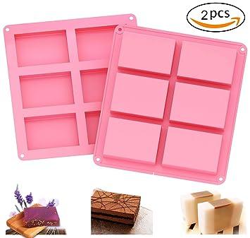 Molde de jabón Newdesign, 2 unidades, 6 cavidades, rectangular, de silicona, para pasteles de chocolate y hacer tu propio jabón de bar casero (rosa): ...