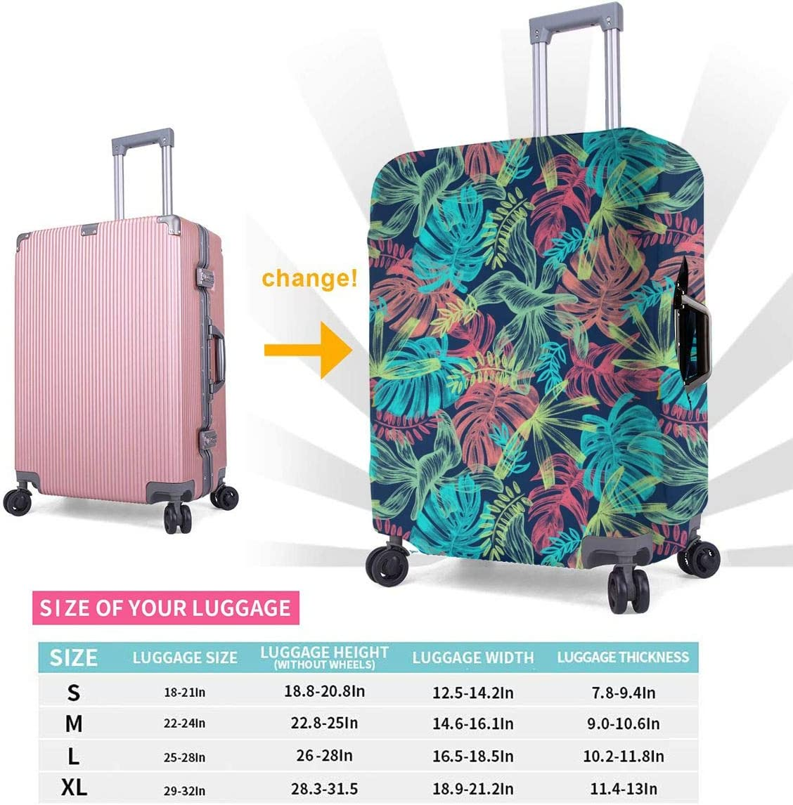 Leaves Picture African American Woman Luggage Cover Elastic Suitcase Protector Fits 18-32 Inch